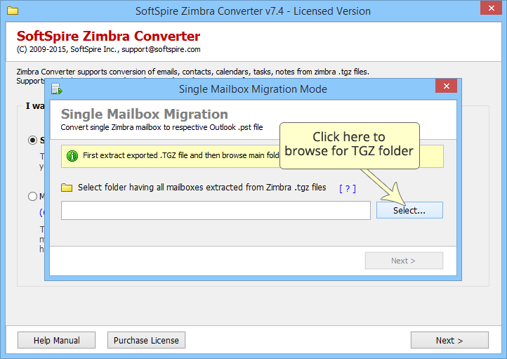 Click to view Zimbra to MS Exchange 8.3 screenshot